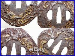 SUPERB Signed Dragon TSUBA 18-19thC Japanese Edo Antique for Koshirae f376