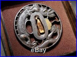 SUPERB Signed Dragon TSUBA 18-19thC Japanese Original Antique Edo Koshirae