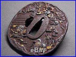 SUPERB Signed TSUBA 18-19th C Japanese Edo Antique Koshirae fitting ONI d798