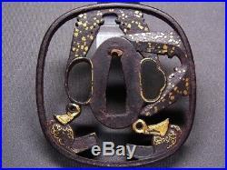 SUPERB TSUBA 18-19th C Japanese Edo Antique Koshirae fitting KURA & ABUMI e471