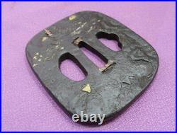 Shan shui 7.9cm 211g Iron Japanese Tsuba Samurai Katana Sword Guard Antique used