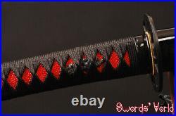 Sharp Wakizashi Japanese Sword Clay Tempered Folded Steel Iron Tsuba With Bo-hi