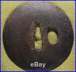 Signed KATANA TSUBA 18-19th C Japanese Edo Antique Koshirae fitting d972