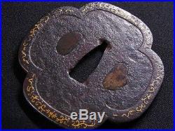 Signed KATANA TSUBA 18-19th C Japanese Edo Antique Koshirae fitting e554