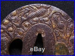Signed TSUBA 18-19th C Japanese Edo Antique Koshirae fitting Dragon e567