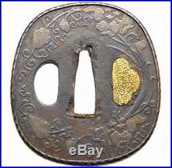 Silver Ring TSUBA 18-19th C Japanese Edo Antique Koshirae fitting Leaves e315