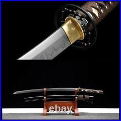 T10Clay Tempered Steel Handmade Samurai Katana Sword iron Tsuba blade very sharp