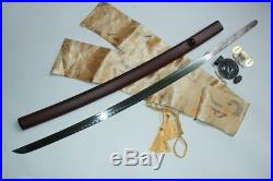T10 Blade Japanese Samurai Katana Iron Tsuba Magpie White Real Fish Samegawa