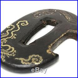 TB19049 Japanese Antique Sword Higo Nunome Zogan Hamidashi Tanto TSUBA