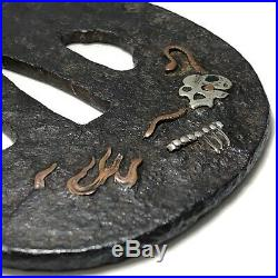 TB19055 Japanese Antique Samurai Sword Nozarashi Design Zogan TSUBA