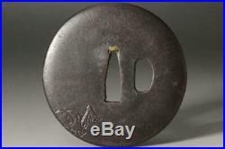 TI40 Japanese Antique Iron ogre (oni) Tsuba signed Edo #sword demon devil