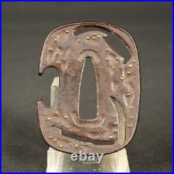 TSUBA Antique 6193 Iron Territory Tool Japanese Sword Katana Samurai Menuki