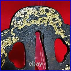 TSUBA GOLD LEAF for Katana Sword guard Blade Vintage Japanese Samurai OB144