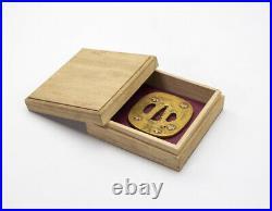 TSUBA Japanese Original Late Edo period-Brim-with box Antique