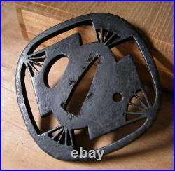 TSUBA Japanese Sword Katana Samurai Japan Antique Edo Period Paulownia Box OGI