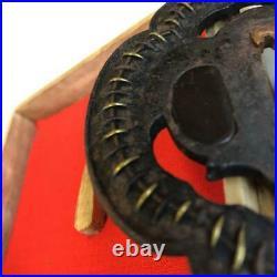 TSUBA Japanese sword guard Centipede figure Brass inlay iron SUKASHI(Openwork)