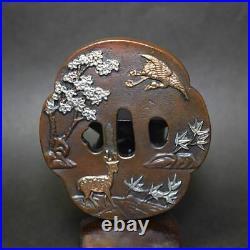 TSUBA Japanese sword guard Deer&Bird Samurai Katana Japan Edo h-46