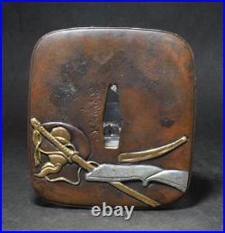 TSUBA Japanese sword guard / Enma Samurai Katana Edo Antique JAPAN