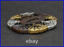 TSUBA Japanese sword guard / Fan gold and silver Samurai Katana Edo Antique JP
