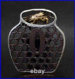 TSUBA Japanese sword guard / Gold crab & Basket Samurai Katana Edo Antique JAPAN