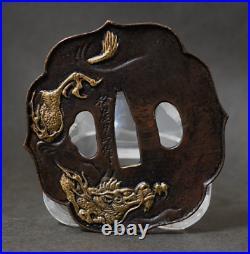 TSUBA Japanese sword guard / Golden dragon Samurai Katana Edo Antique JAPAN