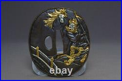 TSUBA Japanese sword guard Horses God Samurai Katana Japan Edo a8-18