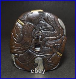 TSUBA Japanese sword guard / Mr. Shoki Samurai Katana Edo Antique JAPAN