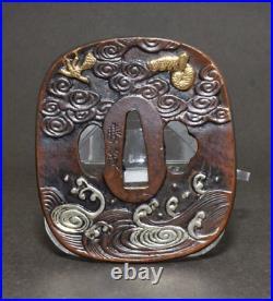 TSUBA Japanese sword guard / Sky dragon & Tiger Samurai Katana Edo Antique JAPAN