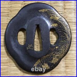 TSUBA Katana Sword Japanese Antique Samurai iron ground 62