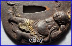 TSUBA Takanikubori Nio Gold skirt Japanese Sword Edo era Singed Antique J FS EMS