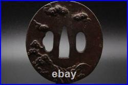TSUBA iron Inlay Merchant and landscape Katana Japanese sword Samurai Edo antiqu
