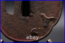TSUBA iron Inlay Shiitake Katana Japanese sword Samurai Edo samurai antique