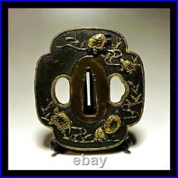 Tsuba Antique Copper Graffitarian Turtle Japanese Sword Katana Samurai Menuki