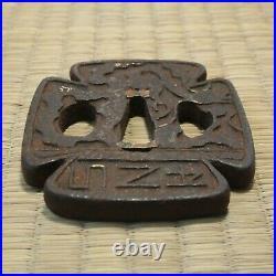 Tsuba Antique Japanese Iron Sword Guard Square, Alphabet, Gold inlay work 014