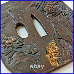 Tsuba Dropping a lion Iron Katana Sword Japanese Antique Samurai Edo From Japan