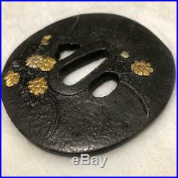 Tsuba Japanese Samurai Antique Sword TSUBA Engraving Flower Gold