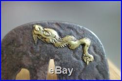 Tsuba Japanese Samurai Dragon cloud Unryu brass inlay sword fitting katana withbox