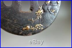 Tsuba Japanese Samurai Scarecrow straw peony gold inlay sword fitting katana