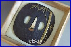 Tsuba Japanese Samurai bamboo brass inlay large sword fitting katana Edo withbox