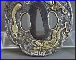 Tsuba Japanese Samurai diving sand Dragon brass inlay sword fitting katana withbox