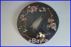 Tsuba Japanese Samurai grape copper brass inlay iron sword fitting katana edo