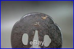 Tsuba Japanese Samurai owl bird design copper inlay katana Sword fitting Edo