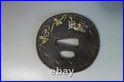 Tsuba Japanese Samurai peony shishi leo brass silver inlay sword fitting katana