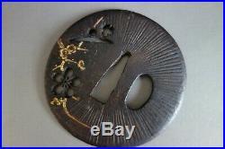 Tsuba Japanese Samurai ume sakura flower inlay sword fitting katana withbox
