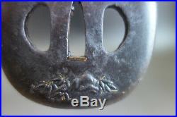 Tsuba Japanese Samurai willow fishing boat inlay sword fitting katana withbox