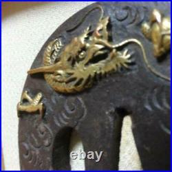 Tsuba Japanese sword Iron Plating gold Coud dragon wave pattern Round shape