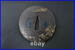 Tsuba Japanese sword guard antique iron by Eishu Japanese landscape Edo period
