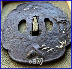 Tsuba Japanese sword tool Iron Edo Period Landscape design Rare Katana 058
