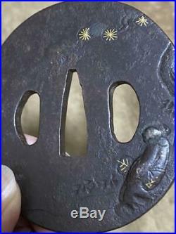 Tsuba Japanese sword tool iron Gold inlay Old man Katana samurai Edo period