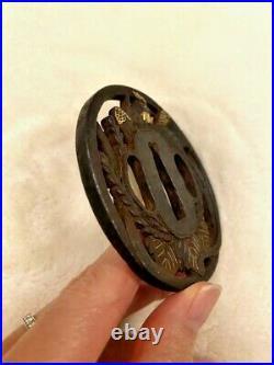 Tsuba Phoenix Motif Katana Sword Autographed Japanese Antique Edo From Japan F/S
